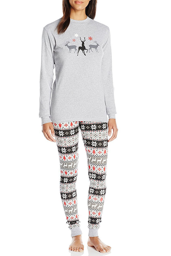 Lovely Trendy Printed Grey Mother Two-piece Pants Set