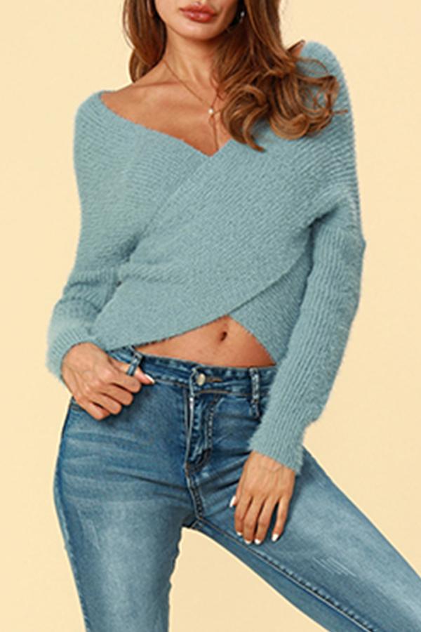 Lovely Trendy Cross-over Design  Blue Cotton Cardigan