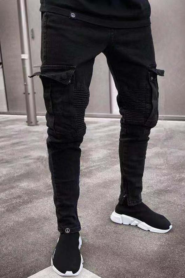 Lovely Casual Zipper Design Black Jeans