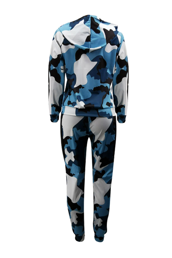 Lovely Casual Hooded Collar Camouflage Printed Blue Two-piece Pants Set
