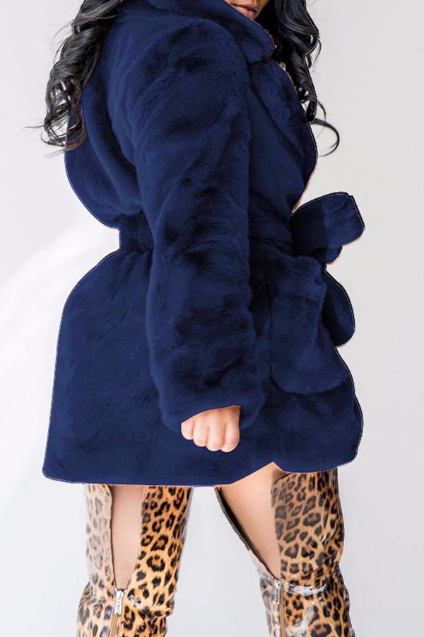 lovelywholesale / Lovely Casual Lace-up Dark Blue Coat