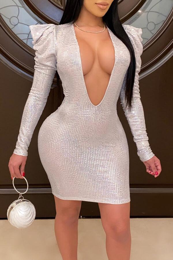 Lovely Sexy Deep V Neck Silver Mini Dress