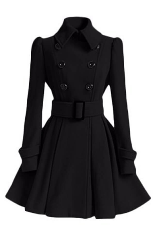 Lovely Casual Buttons Design Black Trench Coat
