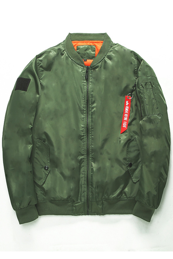 Lovely Casual Zipper Design Army Green Cotton-padded Clothe