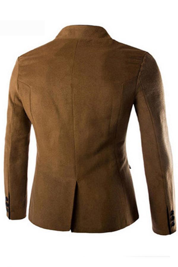 Lovely Casual Mandarin Collar Buttons Design Khaki Formal Wear