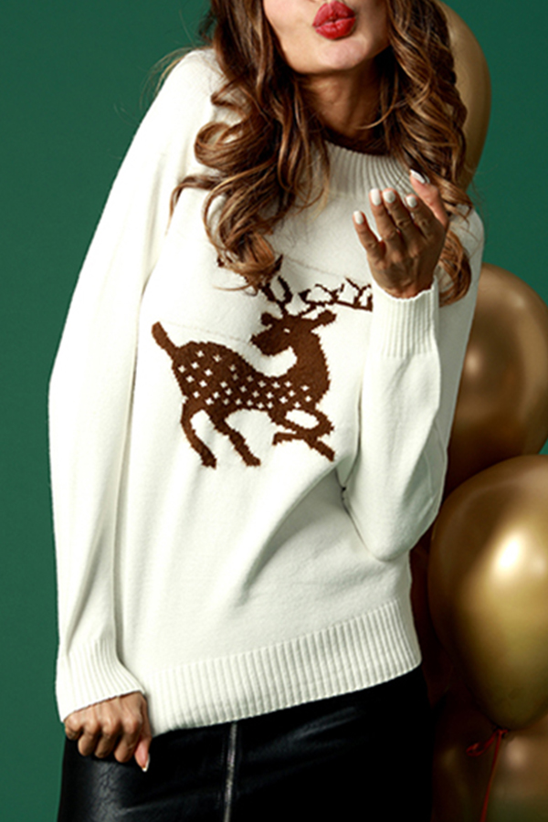 Lovely Casual Christmas White Cotton Blends Sweaters