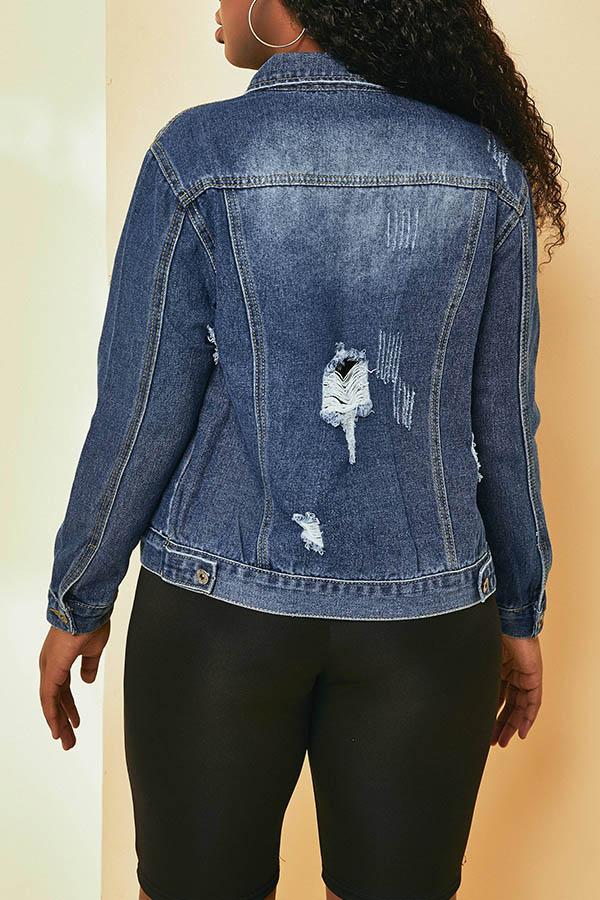 Lovely Trendy Buttons Design Blue Coat