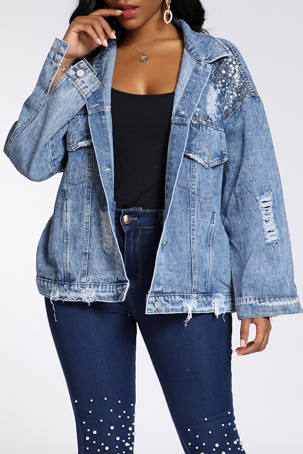 Lovely Trendy Sequined Decorative Blue Coat