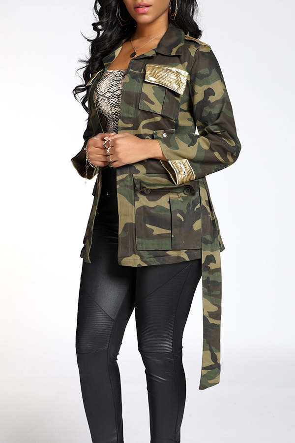 Lovely Casual Camouflage Printed Army Green Coat