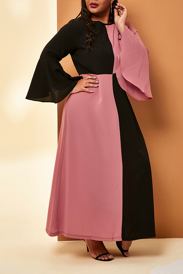 Lovely Casual Patchwork Black Knee Length Plus Size Dress