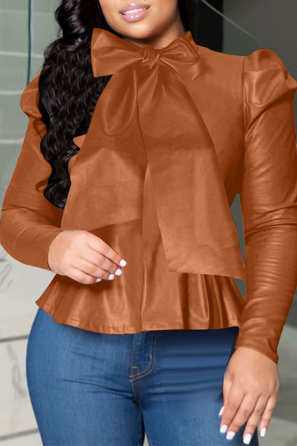 Lovely Sweet O Neck Flounce Design Brown Blouse