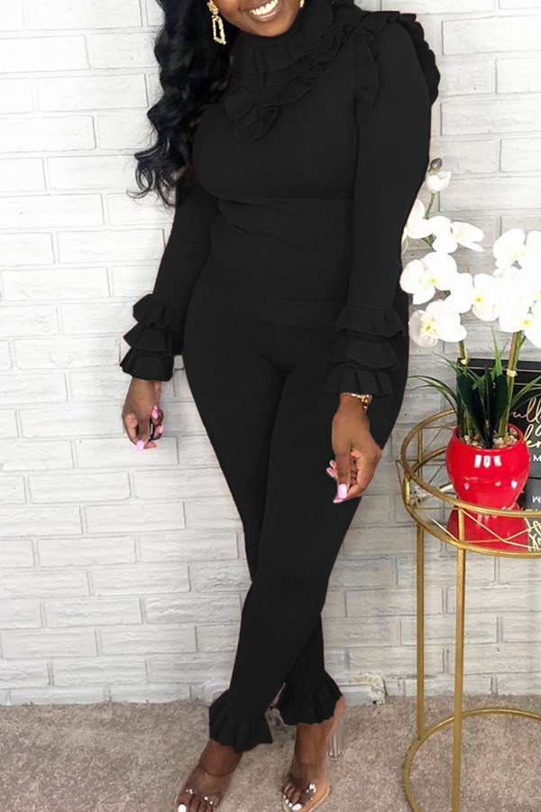Lovely Sweet Turtleneck Flounce Design Black Two-piece Pants Set