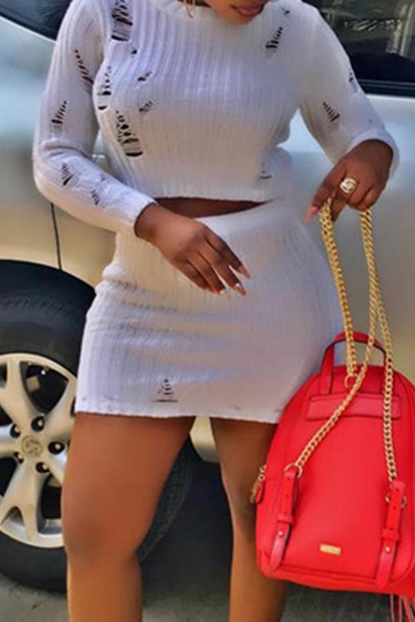 Lovely Sexy O Neck Skinny White Two-piece Skirt Set