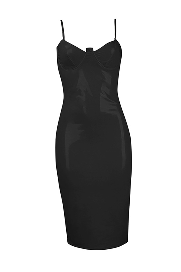 Lovely Sexy V Neck Skinny Black PU Knee Length Dress