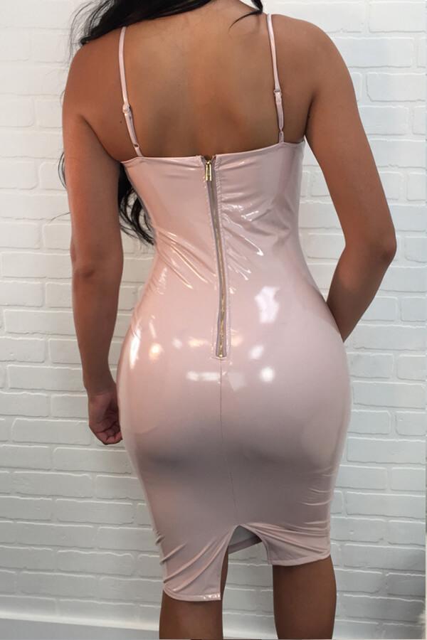 Lovely Sexy V Neck Skinny Light Pink PU Knee Length Dress