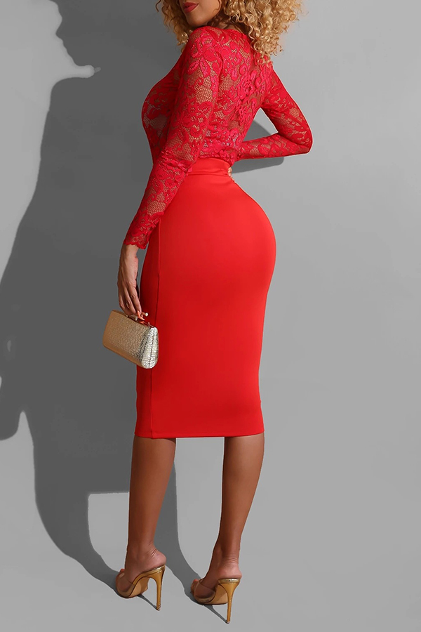 Lovely Sweet O Neck Patchwork Red Mid Calf Dress
