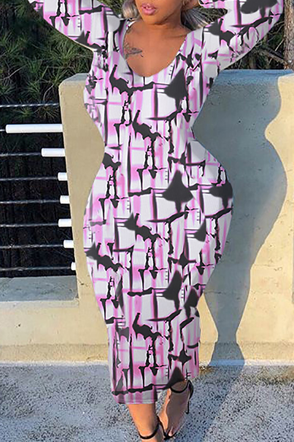 Lovely Casual Printed Skinny Pink Ankle Length Dress