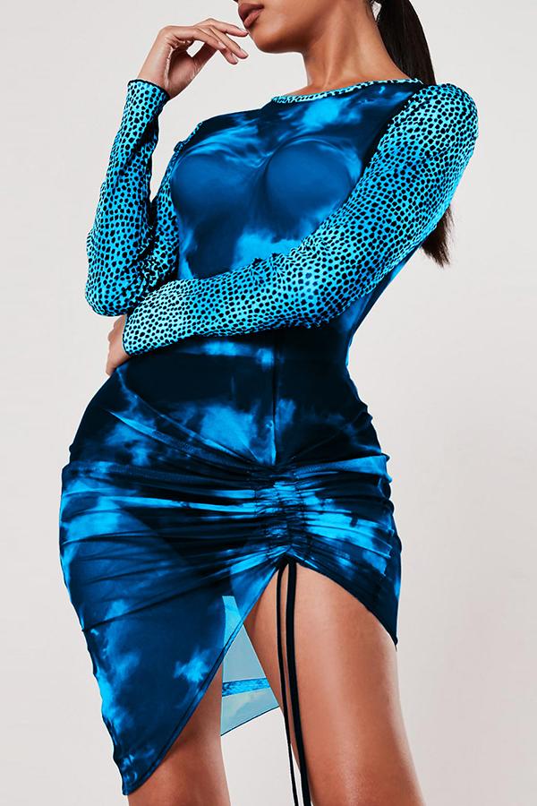 Lovely Trendy See-through Blue Mini Dress