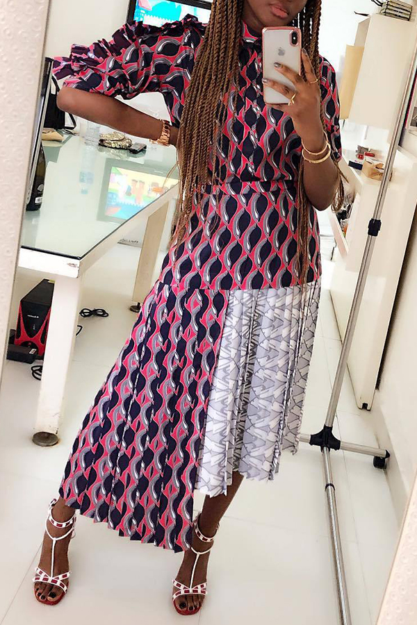 Lovely Sweet Printed Multicolor Ankle Length Printed Dress