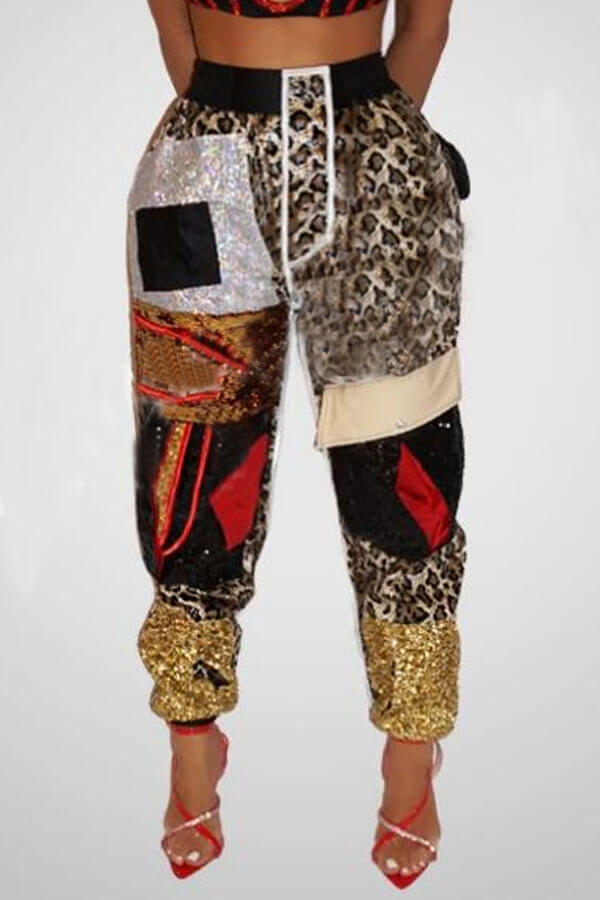 Lovely Casual Patchwork Leopard Printed Pants