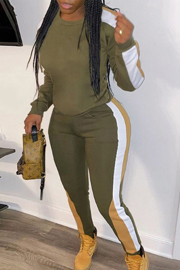 Lovely Casual Hooded Collar Patchwork Army Green Two-piece Pants Set