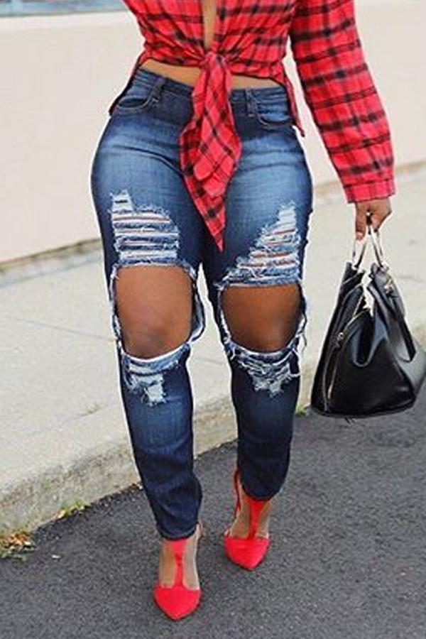 Lovely Casual Broken Holes Deep Blue Jeans