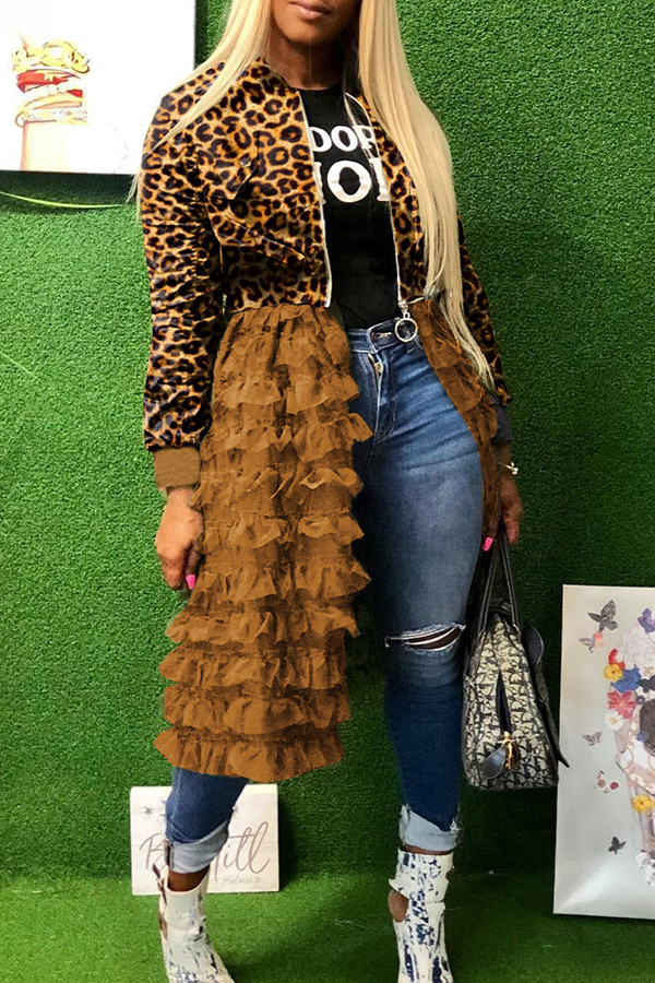 Lovely Sweet Leopard Printed Patchwork Coat