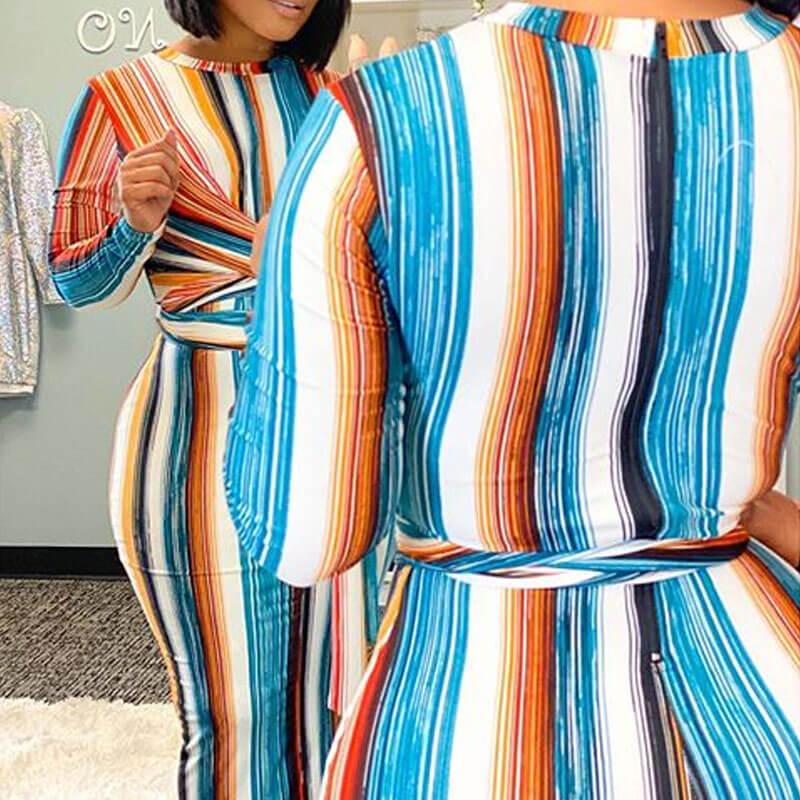 Lovely Trendy Striped Multicolor Ankle Length Dres