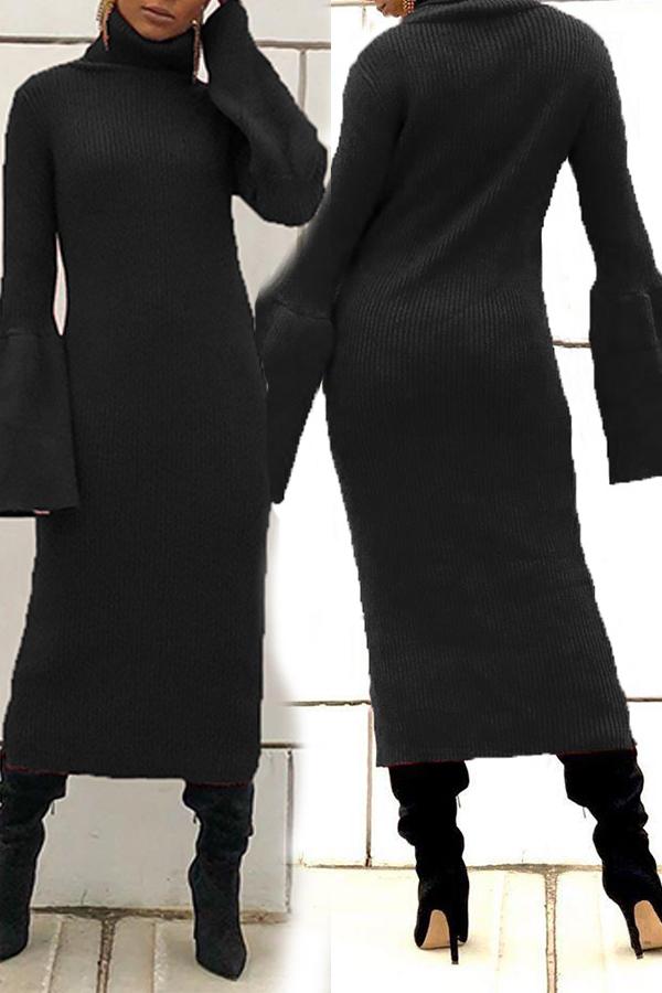 Lovely Leisure Turtleneck Black Mid Calf Dress