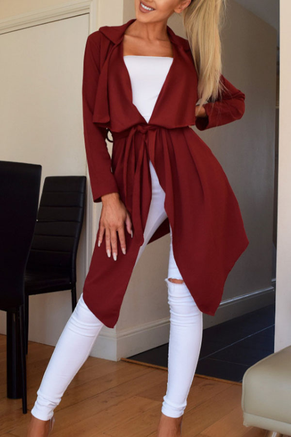 Lovely Casual Lace-up Wine Red Trench Coats