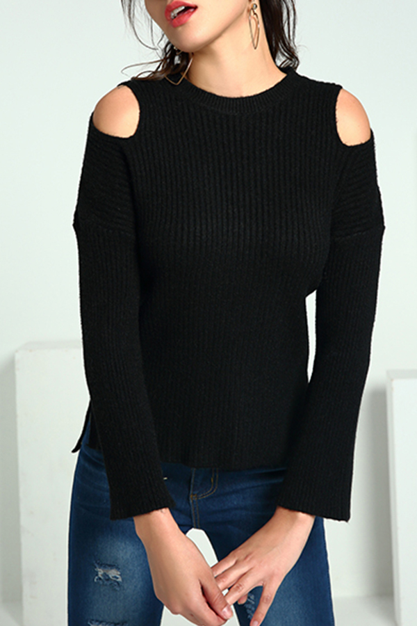 Lovely Casual Dew Shoulder Black Knitting Sweaters