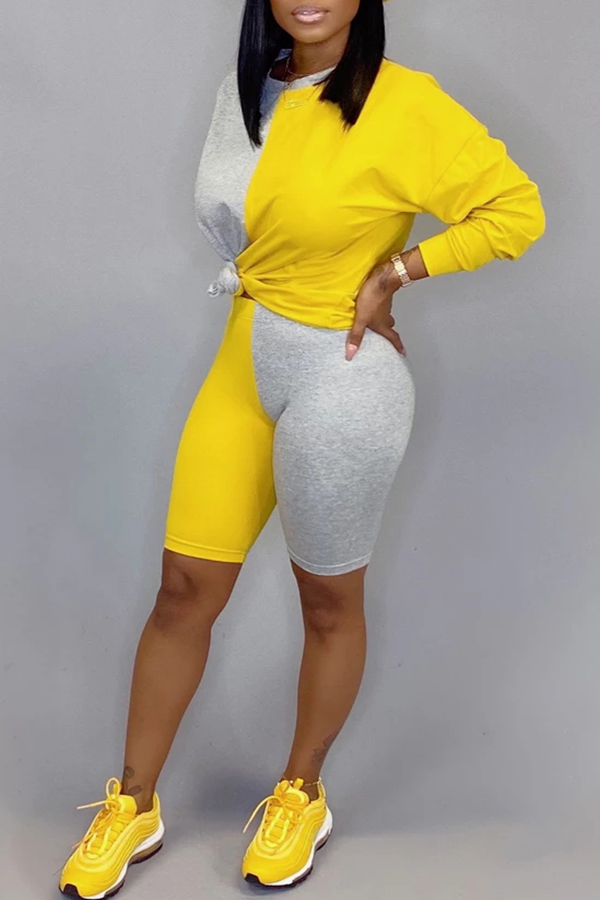 Lovely Trendy Color-lump Patchwork Yellow Two-piece Shorts Set