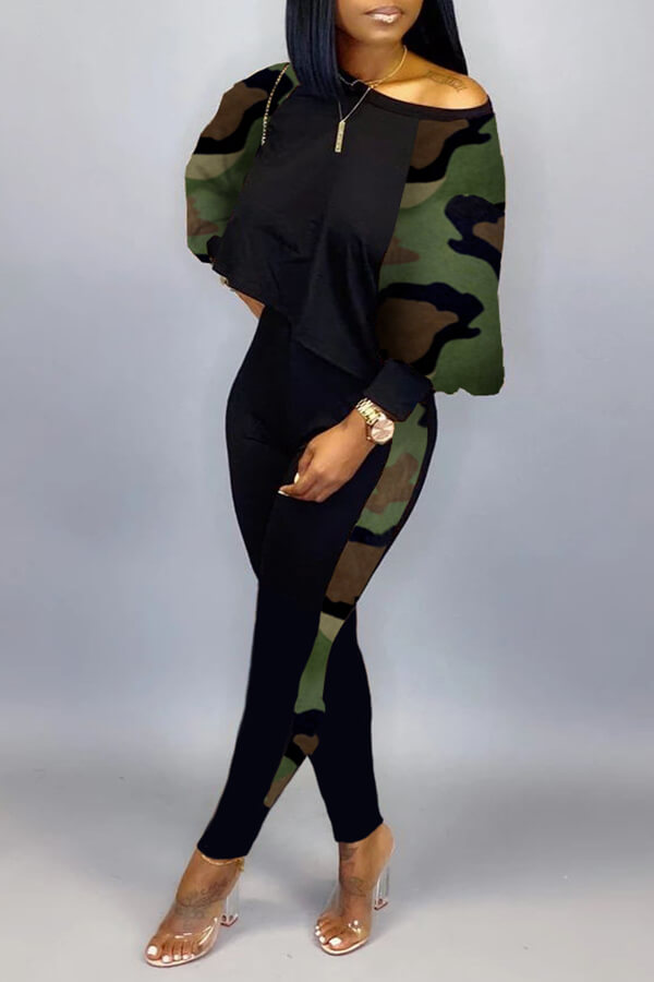Lovely Casual Camouflage Printed Two-piece Pants S