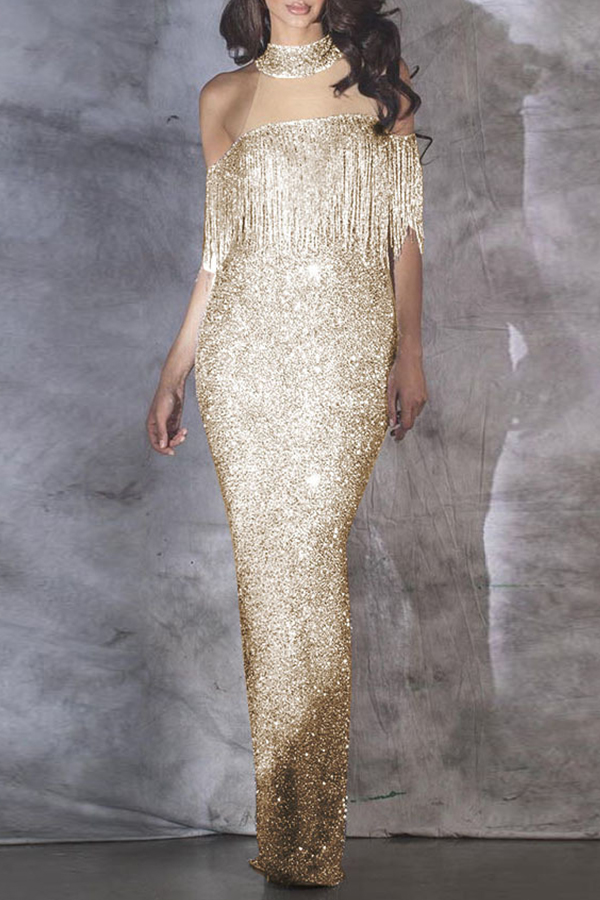 Lovely Party Tassel Design Apricot Ankle Length Prom Dress