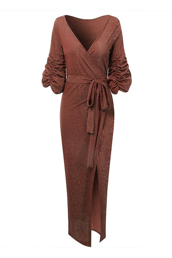 Lovely Party V Neck Side High Slit Umber Ankle Length Evening Dress
