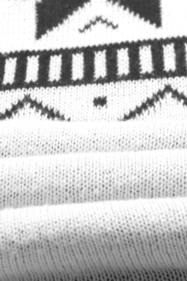 Lovely Casual Christmas Deer White Sweater