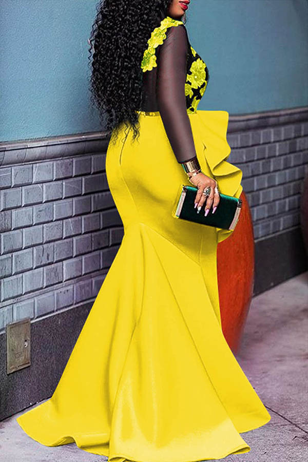 Lovely Party Patchwork Flounce Yellow Floor Length Prom Dress