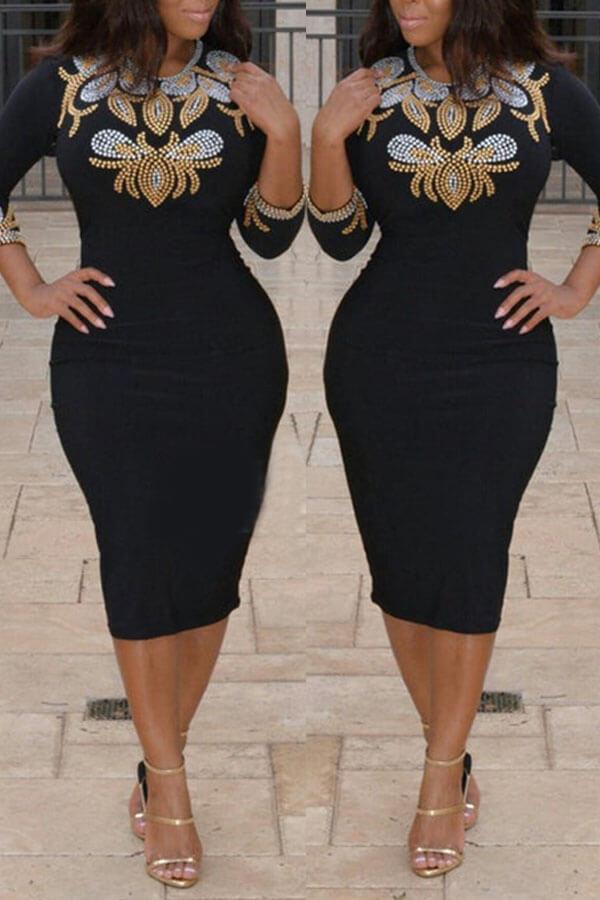 Lovely Trendy Hot Drilling Decorative Black Mid Calf Dress