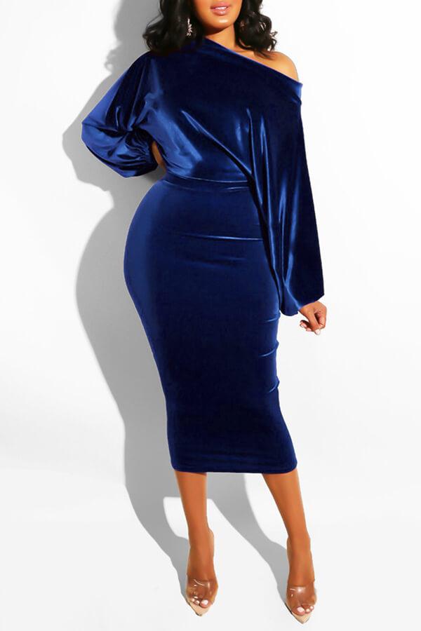 Lovely Work Dew Shoulder Deep Blue Mid Calf Dress