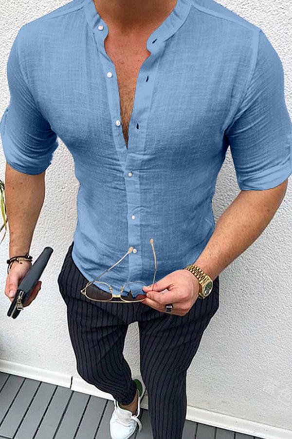 Lovely Casual Basic Buttons Design Blue Shirt