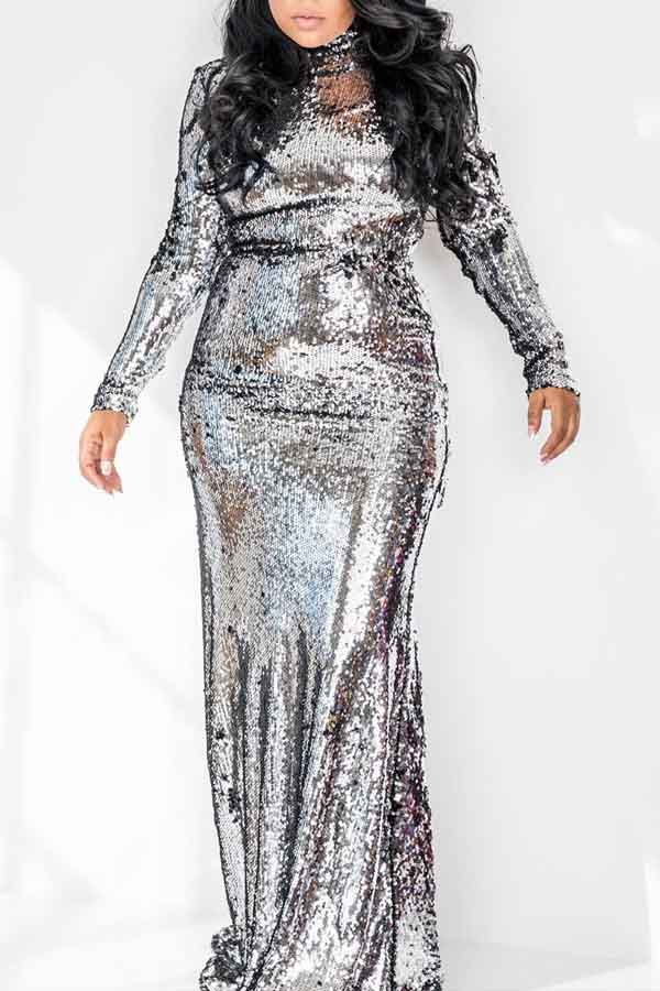 Lovely Party Turtleneck Silver Trumpet Mermaid Prom Dress