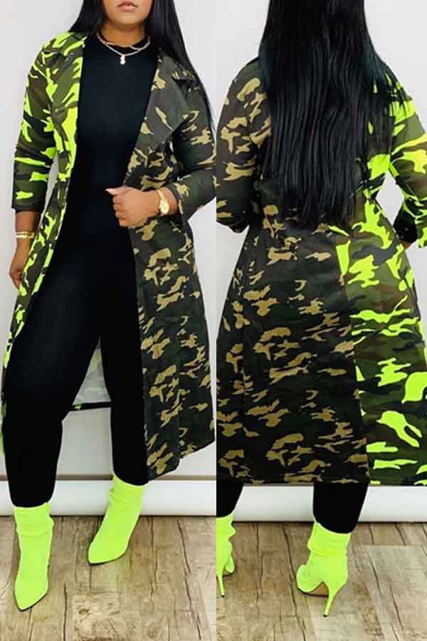 Lovely Casual Camo Army Green Trench Coat