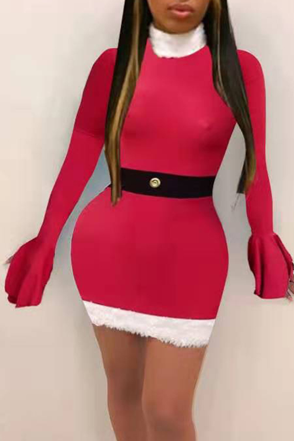 Lovely Christmas Day Flare Sleeve Red Mini Dress