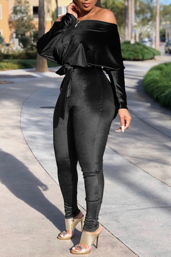 Lovely Casual Dew Shoulder Black One-piece Jumpsuit