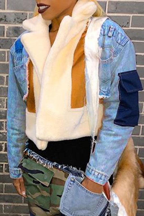 Lovely Casual Patchwork Short Blue Denim Coat