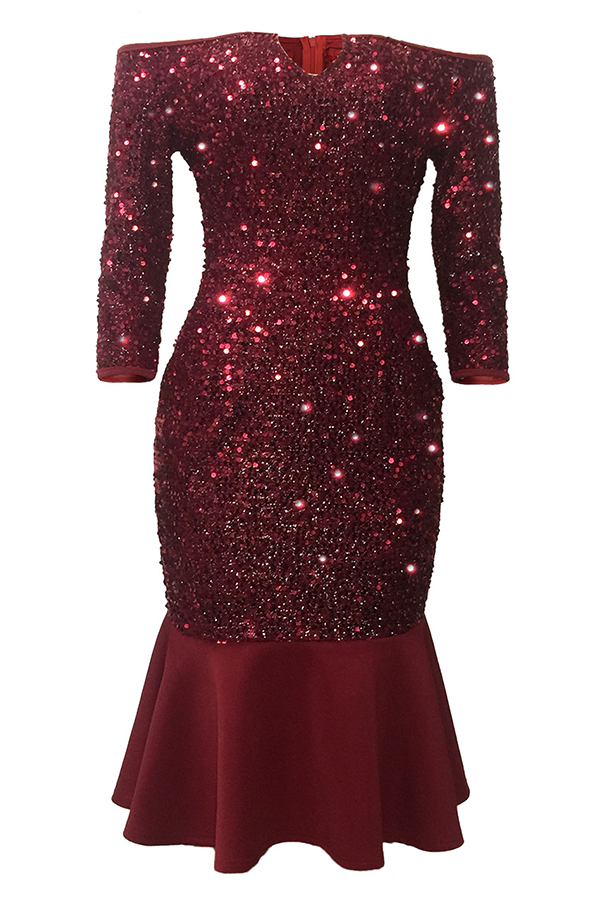 Lovely Party Patchwork Wine Red Knee Length Evening Dress