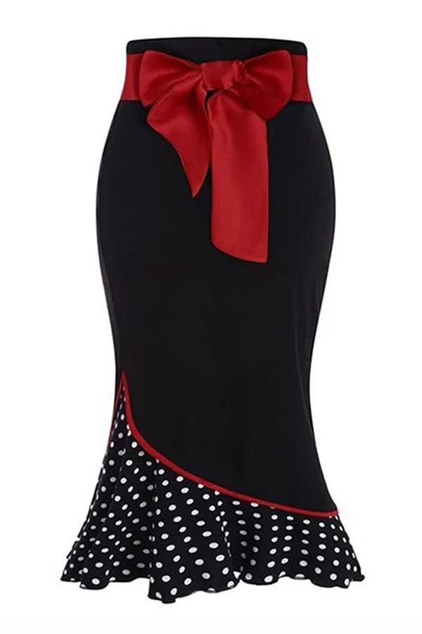 Lovely Sweet Dot Patchwork Black Skirt