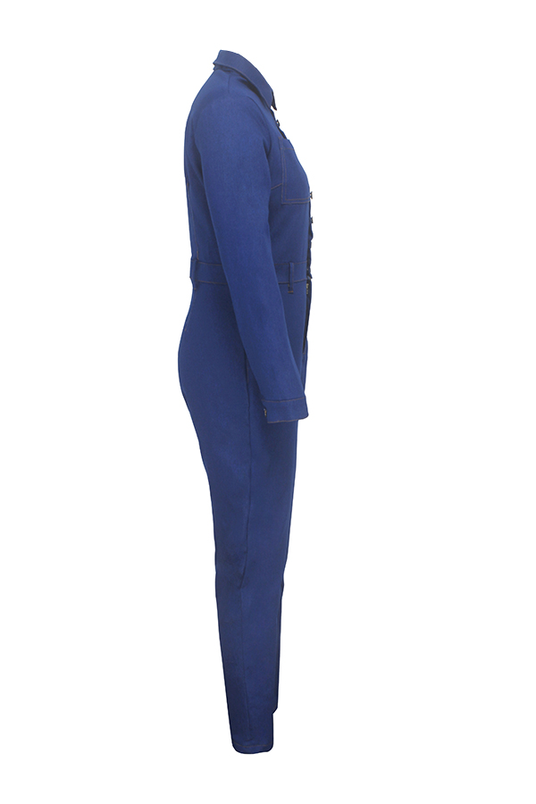 Lovely Chic Skinny Blue One-piece Jumpsuit(Without Belt)