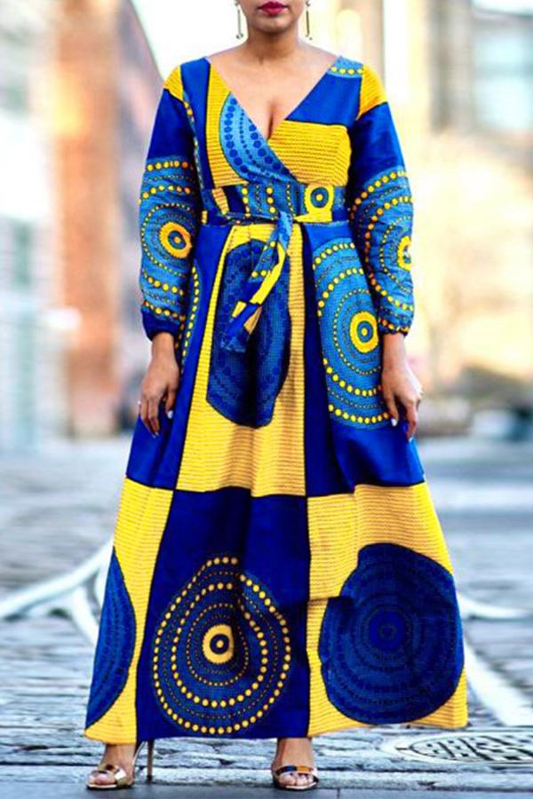 Lovely Trendy V Neck Print Yellow Ankle Length Dress