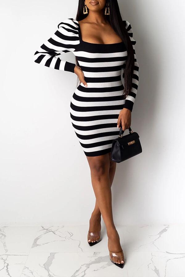 Lovely Sweet Striped Black Mini Dress